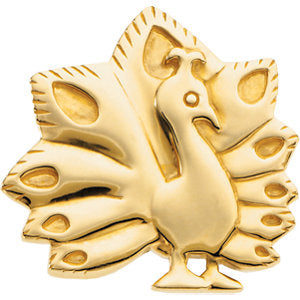 24.50x25.50 mm The Problem Solving Peacock Brooch in 14K Yellow Gold