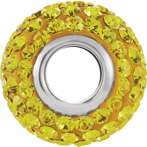 Sterling Silver 12x8mm Citrine-Colored Crystal Pavé Bead