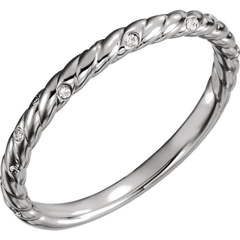 14k White Gold .04 CTW Diamond Rope Band, Size 7