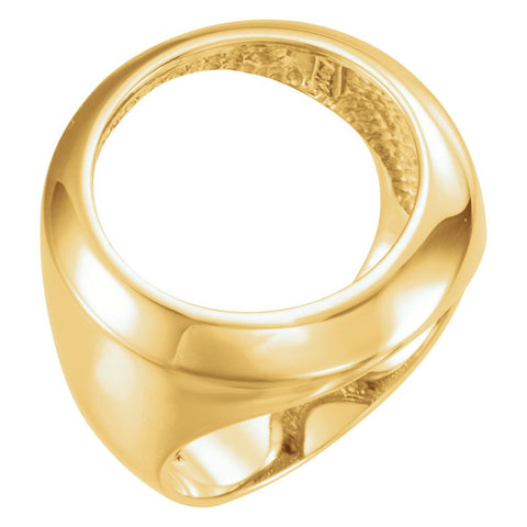 14k Yellow Gold 17.8mm Men's Coin Ring Mounting, Size 6