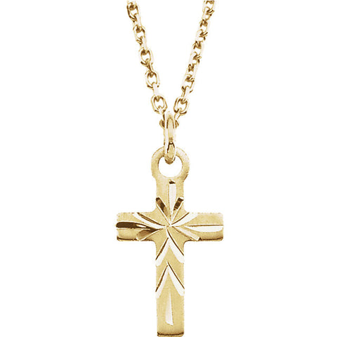 14k Yellow Gold 9.5x6.5mm Youth Cross Necklace