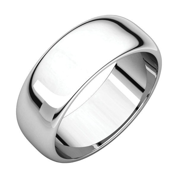 Sterling Silver 7mm Half Round Band, Size 6