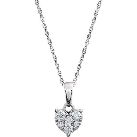 14k White Gold 1/5 CTW Diamond Cluster Necklace