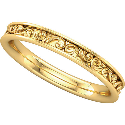 14k Yellow Gold Sculptural-Inspired Band , Size 7