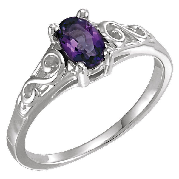 Sterling Silver February Imitation Birthstone Ring , Size 5