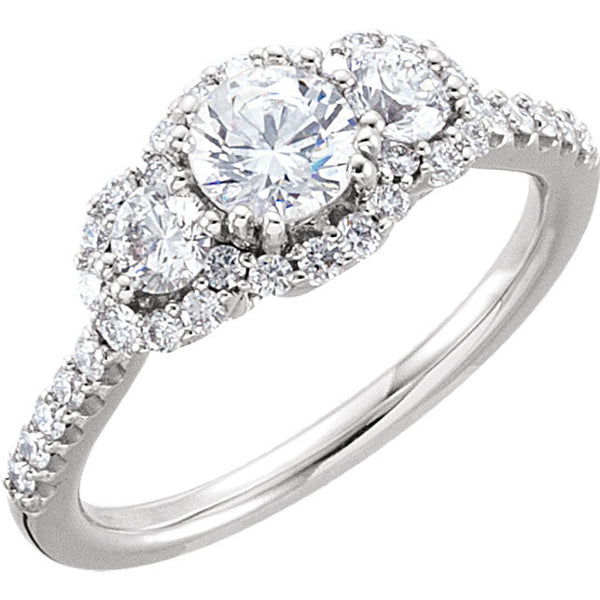 14k White Gold 1 CTW Diamond Engagement Ring Size 7