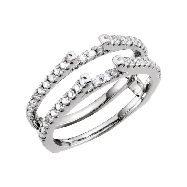 14k White Gold 1/2 CTW Diamond Ring Guard Size 7