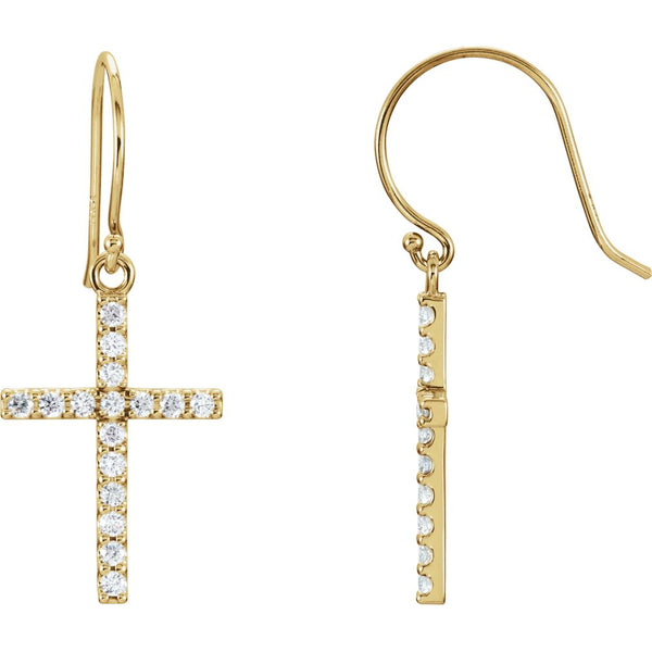 14k Yellow Gold 1/2 CTW Diamond Cross Earrings