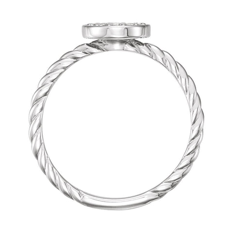 14k White Gold 1/6 CTW Diamond Cluster Rope Ring, Size 7