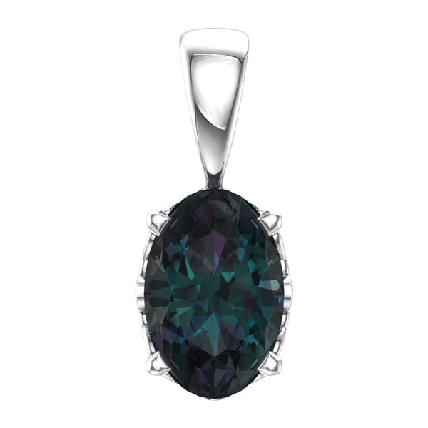 14k White Gold Chatham® Lab-Grown Alexandrite Pendant
