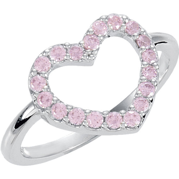 Sterling Silver Pink Cubic Zirconia Heart Ring, Size 7