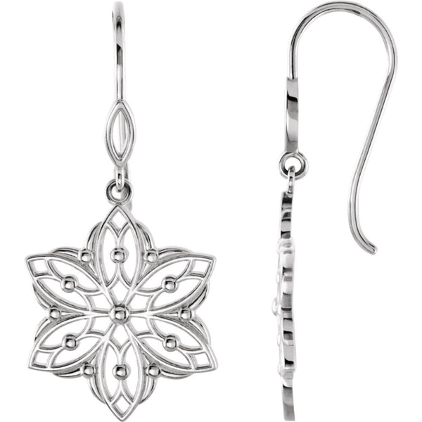 Sterling Silver Decorative Dangle Earrings