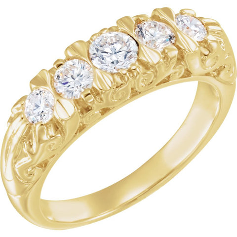 3/4 CTTW Diamond Accented Wedding Band Ring in 14k Yellow Gold (Size 6 )