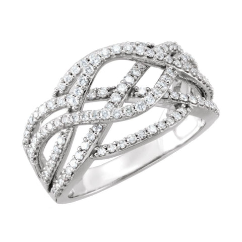 14k White Gold 3/4 CTW Diamond Criss Cross Ring, Size 7