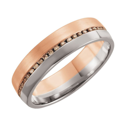 14k Rose Gold & White Gold 6mm 1/3 ctw. Cognac Diamond Comfort-Fit Wedding Band for Men, Size 11