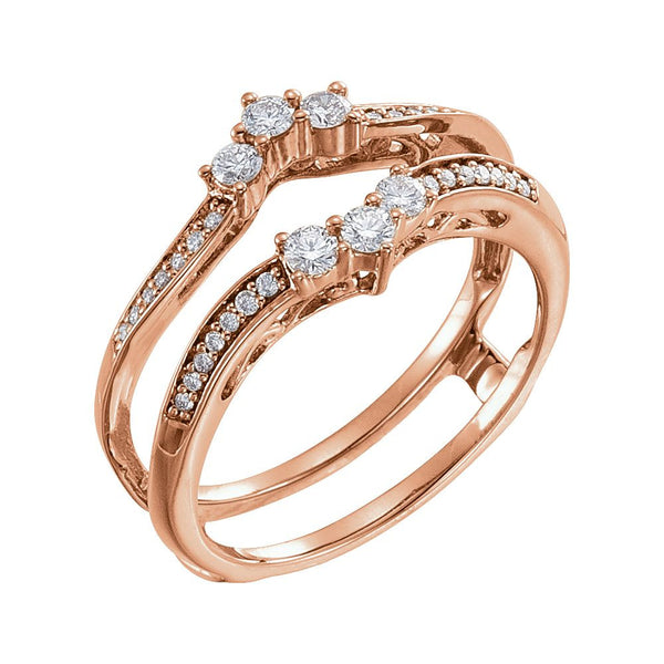 14k Rose Gold 1/3 CTW Diamond Ring Guard , Size 7