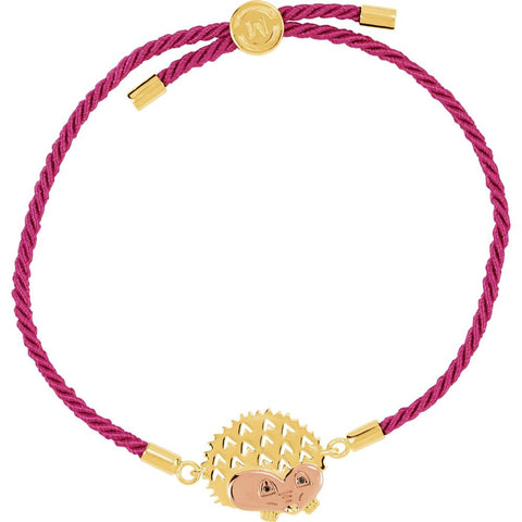 "18K Yellow & Rose Vermeil Hedgehog Pink Satin 8"" Bracelet for Protection"
