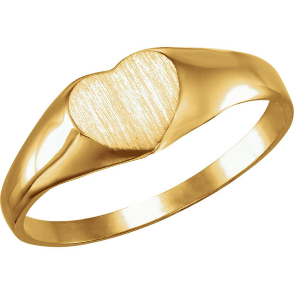 14k Yellow Gold Heart Signet Ring, Size 3