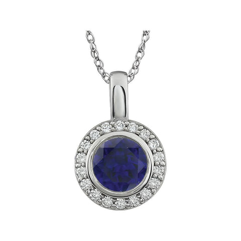 Sterling Silver Dark Blue Cubic Zirconia 18-Inch Necklace