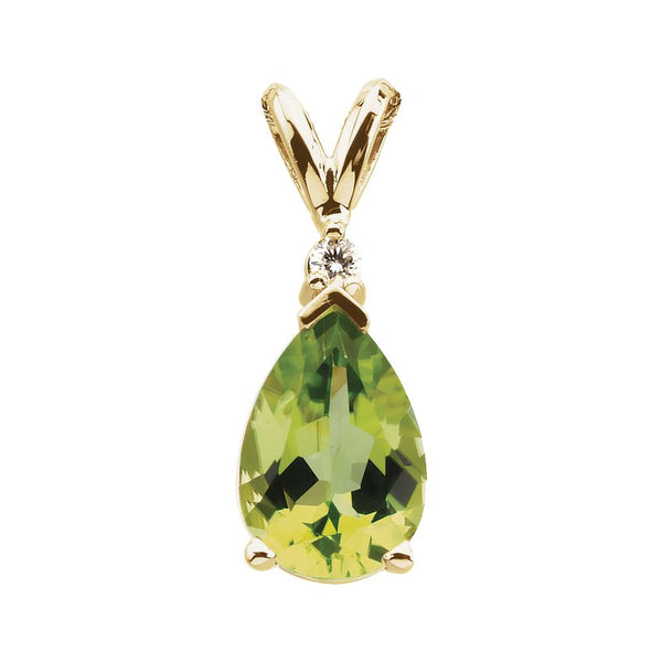 14k Yellow Gold Genuine Peridot & Diamond Pendant