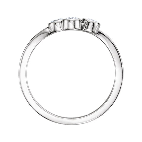 14k White Gold 3mm Round Three-Stone Ring Mounting, Size 7