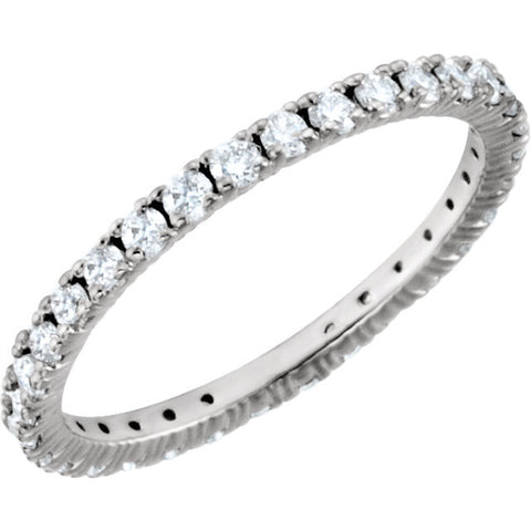 14k White Gold 5/8 CTW Diamond Eternity Band Size 7