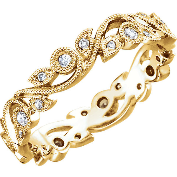 14k Yellow Gold 1/4 CTW Diamond Eternity Band Size 5