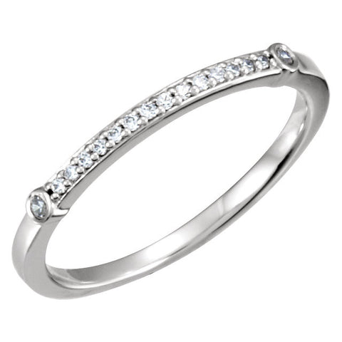 Continuum Silver 1/8 CTW Diamond Semi-set Engagement Ring, Size 7