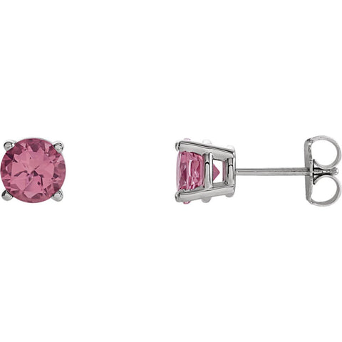 14k White Gold 6mm Round Genuine Pink Tourmaline Friction Post Stud Earrings
