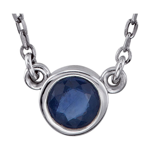 "Sterling Silver Blue Sapphire Bezel 18"" Necklace"