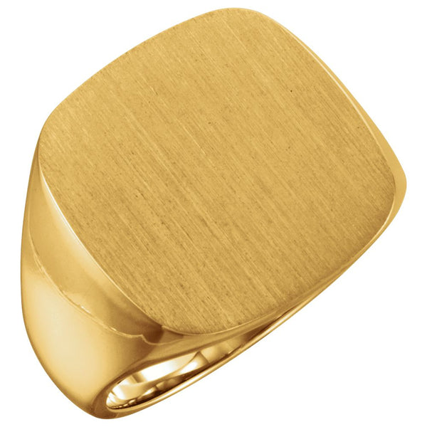 10k Yellow Gold 18mm Men's Solid Signet Ring , Size 11