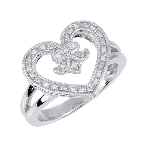 Sterling Silver .07 CTW Diamond Heart & Fleur-De-Lis Design Ring Size 8