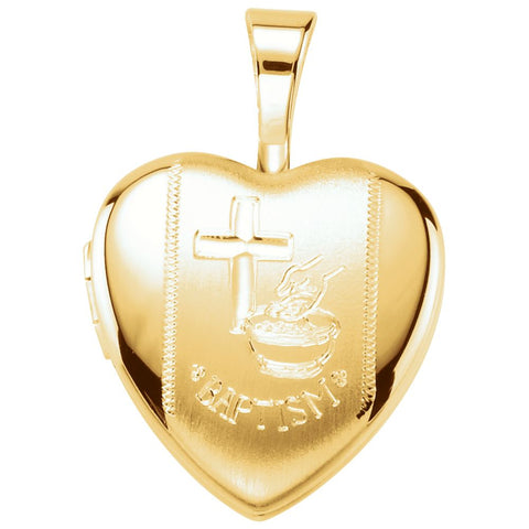 Baptism Heart Locket in Gold Plated Sterling Silver