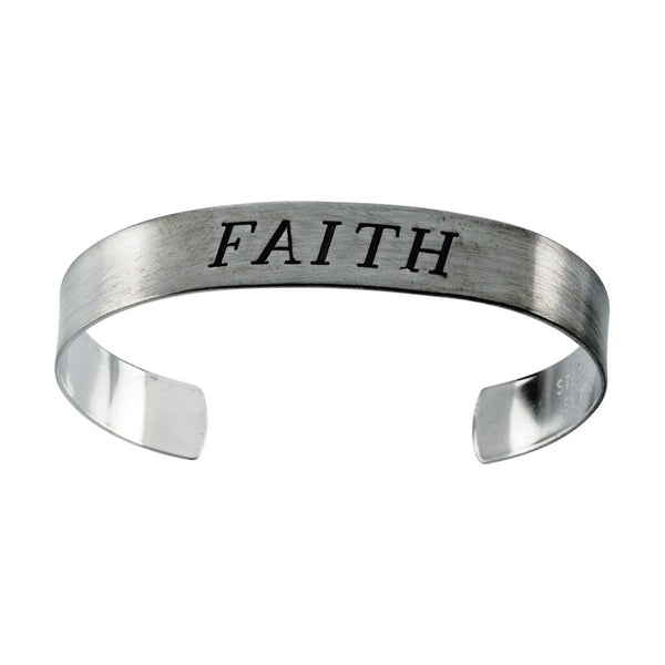 "Sterling Silver Antiqued ""Faith"" Cuff Bracelet"