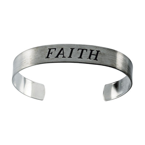 "Antiqued ""Faith"" Cuff Bracelet in Sterling Silver ( 9.5-Inch )"