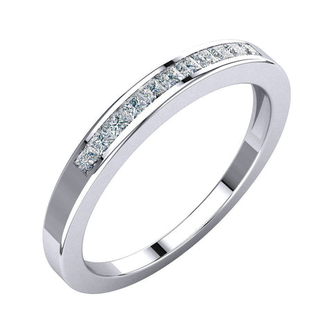 1/4 CTTW Princess-Cut Diamond Anniversary Band in 14k White Gold ( Size 6 )