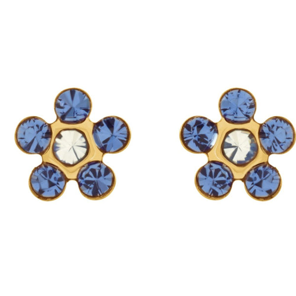 "14k Yellow Gold Imitation ""September"" Youth Birthstone Flower Inverness Piercing Earrings"
