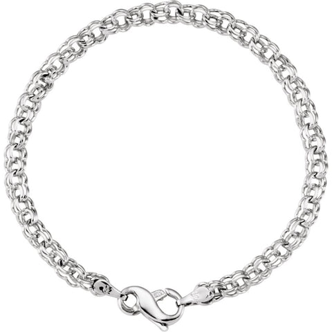 4.5 mm Solid Charm Bracelet in 14k White Gold ( 7-Inch )