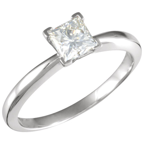 05.00 mm = 3/4 ct. Created Moissanite Solitaire Ring in 14k White Gold ( Size 6 )