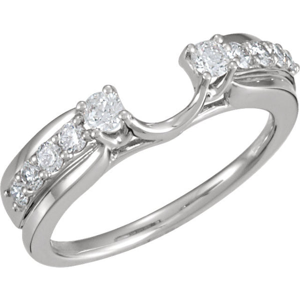 14k White Gold 1/2 CTW Diamond Ring Wrap, Size 7