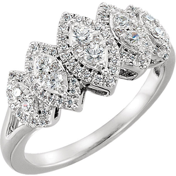 14k White Gold 1/2 CTW Diamond Accented Engagement Ring, Size 7