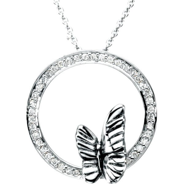 Sterling Silver Cubic Zirconia Expect a Miracle Necklace