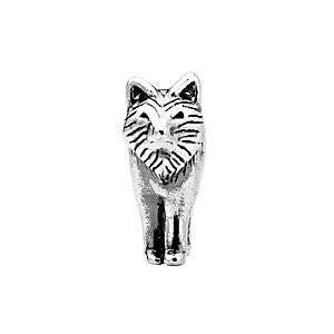 Sterling Silver 15x12mm Wolf Bead Charm