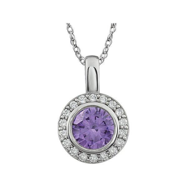"Sterling Silver Purple Cubic Zirconia 18"" Necklace"