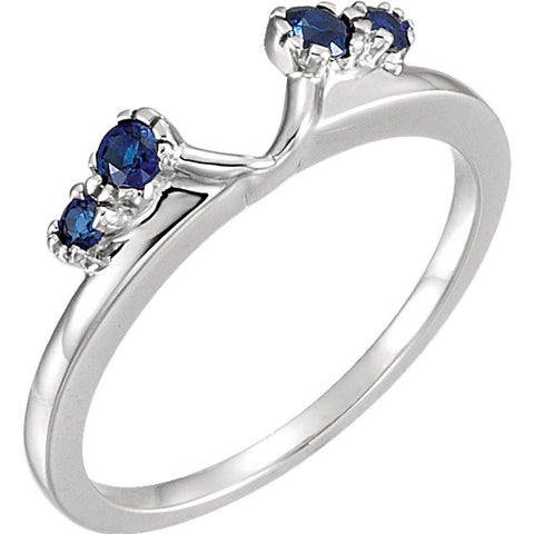 Genuine Sapphire Solitaire Enhancer in 14k White Gold ( Size 6 )