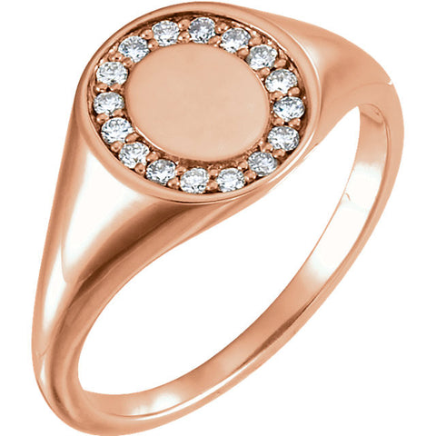 14k Rose Gold 1/6 CTW Diamond Signet Ring, Size 7