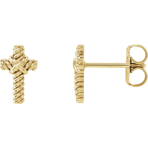 14K Yellow Gold Rope Cross Earrings