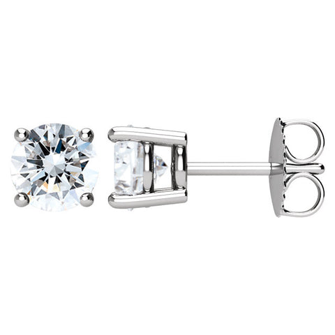 Pair of 1 1/2 CTTW Basket-Style Friction Post Stud Earring in 14k White Gold