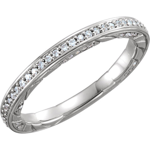 14k White Gold 1/5 CTW Diamond Anniversary Band , Size 7