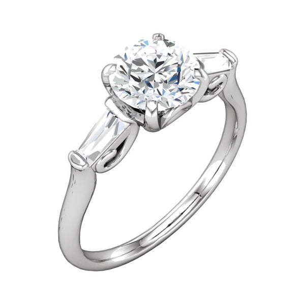 14k White Gold 5.2mm Sculptural-Inspired Engagement Ring, Size 7